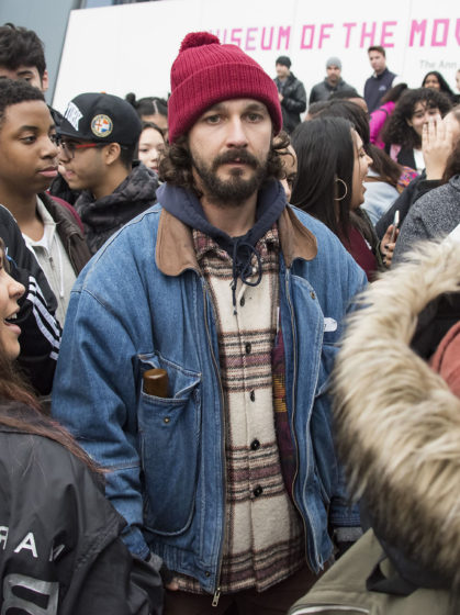 52288555 Actors Shia LaBeouf and Jaden Smith are spotted at Shia LaBeoufÕs new project 'He Will Not Divide Us' outside the Museum of Moving Pictures in New York City, New York on January 20, 2017. Actors Shia LaBeouf and Jaden Smith are spotted at Shia LaBeoufÕs new project 'He Will Not Divide Us' outside the Museum of Moving Pictures in New York City, New York on January 20, 2017. Pictured: Shia LaBeouf FameFlynet, Inc - Beverly Hills, CA, USA - +1 (310) 505-9876 RESTRICTIONS APPLY: NO FRANCE