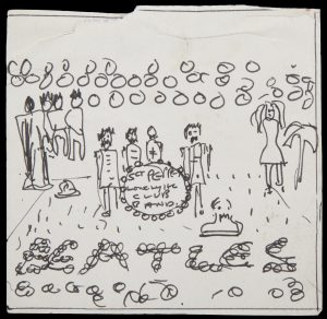 """This image released by Julien's Auctions shows John Lennon's black and white drawing of the iconic """"Sgt. Pepper's Lonely Hearts Club"""" album cover. The drawing, discovered by the owners of the Weybridge house in England where Lennon lived from 1964-68, will be auctioned on May 20, 2017. (Julien's Auctions via AP)"""