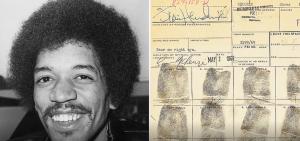 """Se subasta la """"tarjeta de arresto"""" de Jimi Hendrix."""