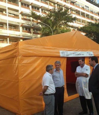 Coronavirus: IPS dispone carpa para prevenir ingreso de cuadros respiratorios sospechosos a recinto
