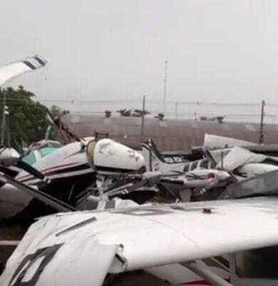 Avionetas y hangares fueron destruidos por tormentas en el aeropuerto Silvio Pettirossi